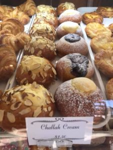 challah cream, almond, fruit, donuts, croissant, delicious